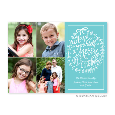 Merry Little Christmas Teal Flat Holiday Photocard