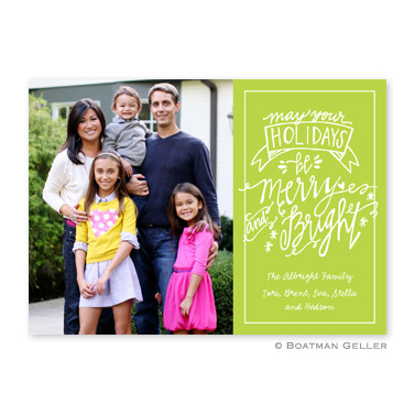 Merry & Bright Lime Flat Holiday Photocard