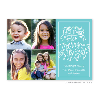 Merry & Bright Teal Flat Holiday Photocard