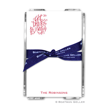Eat Drink Be Merry Holiday Note Sheet with Acrylic Holder