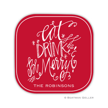 Eat Drink Be Merry Holiday Coaster - set of 4