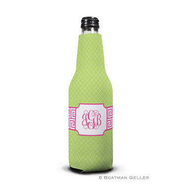 Greek Key Band Pink Bottle Koozie