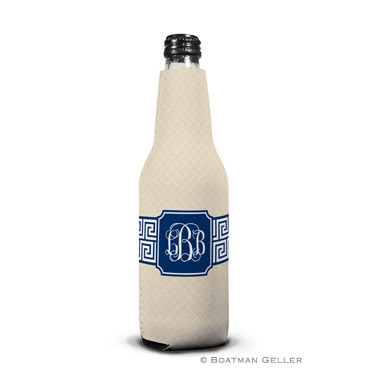 Greek Key Band Navy Bottle Koozie