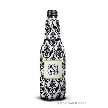 Madison Damask White with Black Bottle Koozie