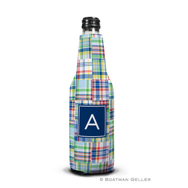 Madras Patch Blue Bottle Koozie