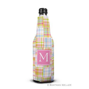Madras Patch Pink Bottle Koozie