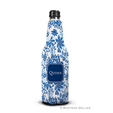 Classic Floral Blue Bottle Koozie