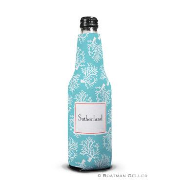 Coral Repeat Teal Bottle Koozie