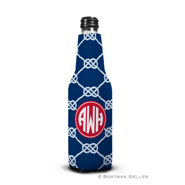 Nautical Knot Navy Bottle Koozie
