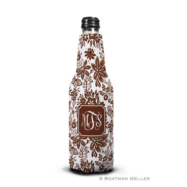 Classic Floral Brown Bottle Koozie