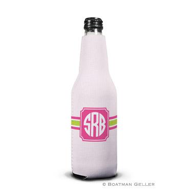 Seersucker Band Pink & Green Bottle Koozie