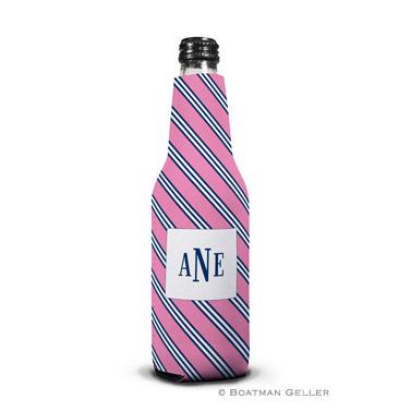Repp Tie Pink & Navy Bottle Koozie
