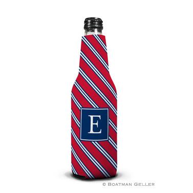 Repp Tie Red & Navy Bottle Koozie