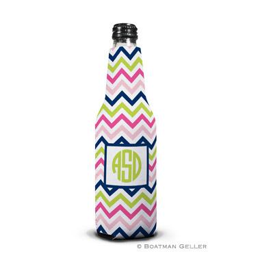 Chevron Pink, Navy & Lime Bottle Koozie