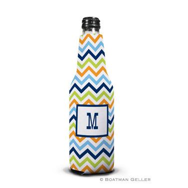 Chevron Blue, Orange & Lime Bottle Koozie