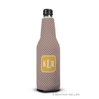 Herringbone Chocolate Bottle Koozie