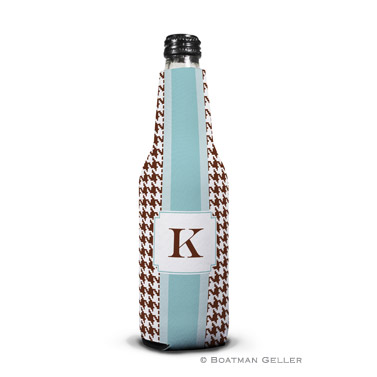 Alex Houndstooth Chocolate Bottle Koozie
