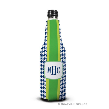 Alex Houndstooth Navy Bottle Koozie