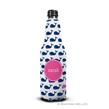 Whale Repeat Navy Bottle Koozie