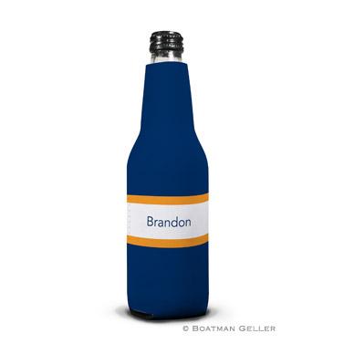 Stripe Navy & Tangerine Bottle Koozie