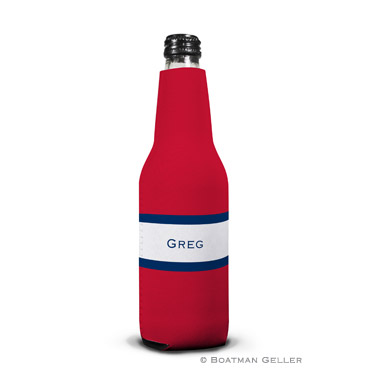 Stripe Red & Navy Bottle Koozie