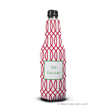 Trellis Reverse Cherry Holiday Koozie Bottle
