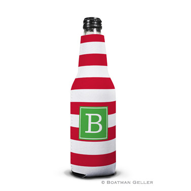 Awning Stripe Red Koozie Bottle