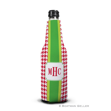 Alex Houndstooth Red Koozie Bottle