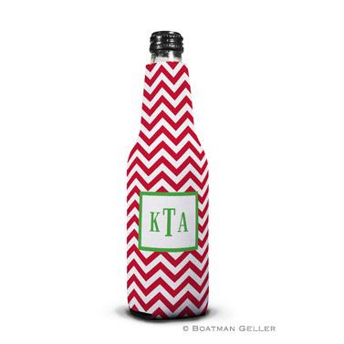 Chevron Red Koozie Bottle