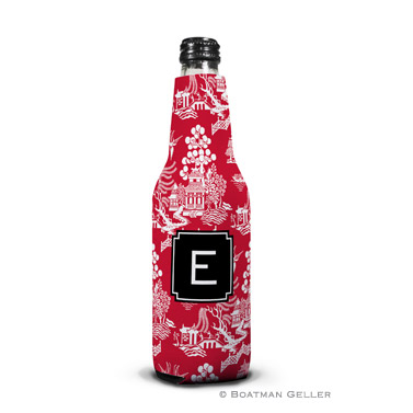 Chinoiserie Red Koozie Bottle