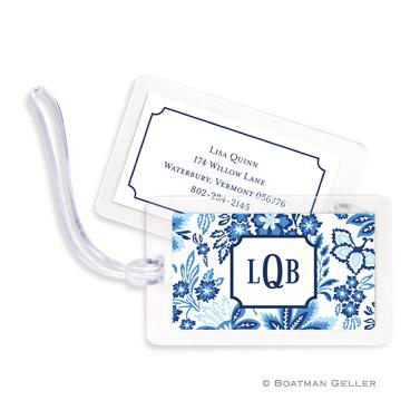 Classic Floral Blue Bag Tag