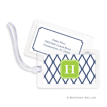 Bamboo Navy & Green Bag Tag