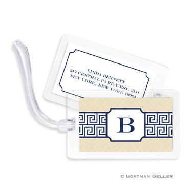 Greek Key Band Navy Bag Tag