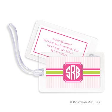 Seersucker Band Pink & Green Bag Tag