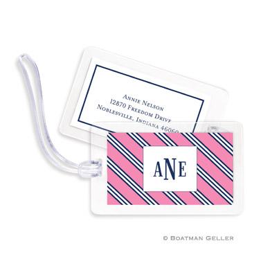Repp Tie Pink & Navy Bag Tag