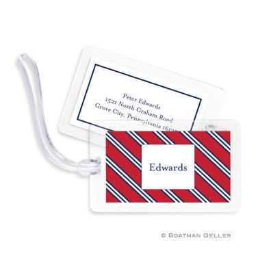 Repp Tie Red & Navy Bag Tag