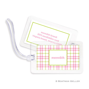 Miller Check Pink & Green Bag Tag