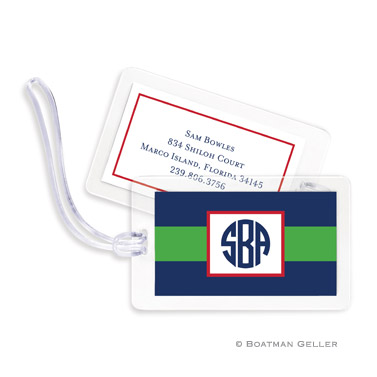 Rugby Navy & Kelly Bag Tag