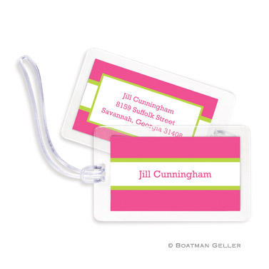 Stripe Raspberry & Lime Bag Tag
