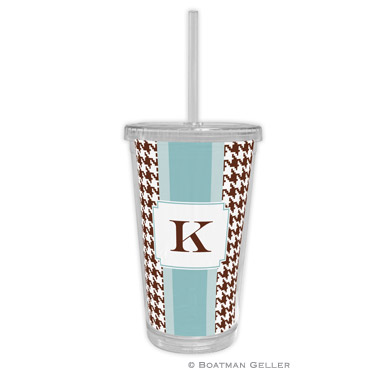 Alex Houndstooth Chocolate Tumbler