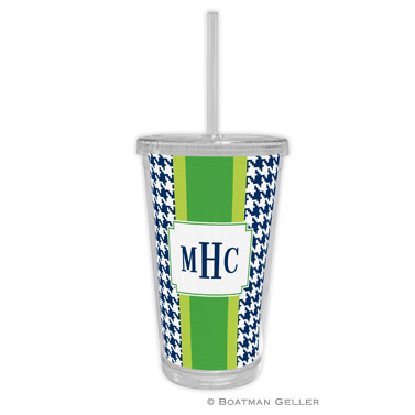 Alex Houndstooth Navy Tumbler