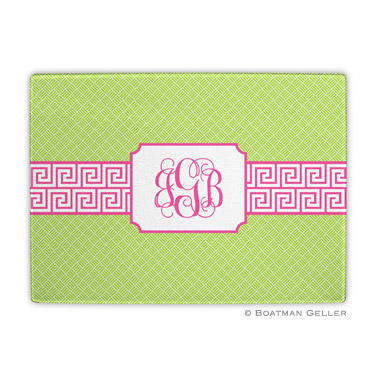 Greek Key Band Pink Cutting Board