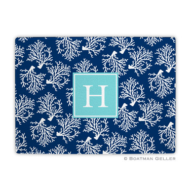 Coral Repeat Navy Cutting Board