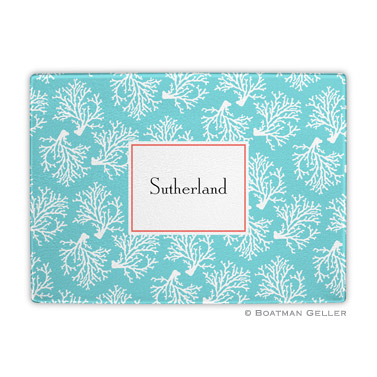 Coral Repeat Teal Cutting Board