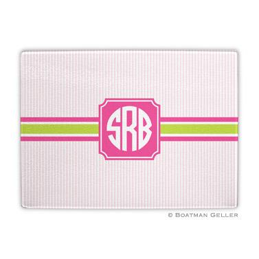 Seersucker Band Pink & Green Cutting Board