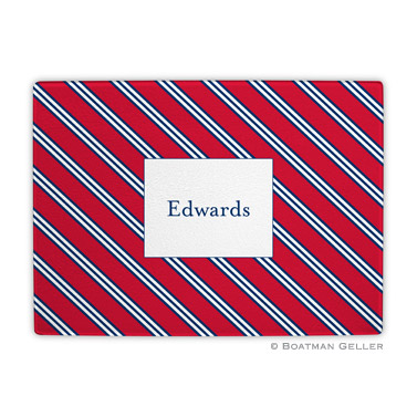 Repp Tie Red & Navy Cutting Board