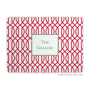Trellis Reverse Cherry Holiday Cutting Board