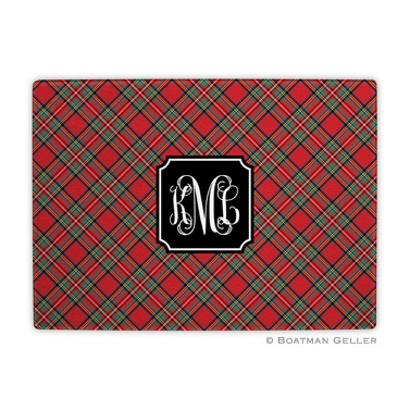 Plaid Red Holiday Cutting Board
