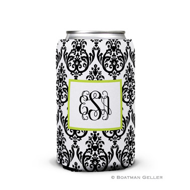 Madison Damask White with Black Can Koozie