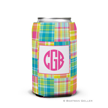 Madras Patch Bright Can Koozie